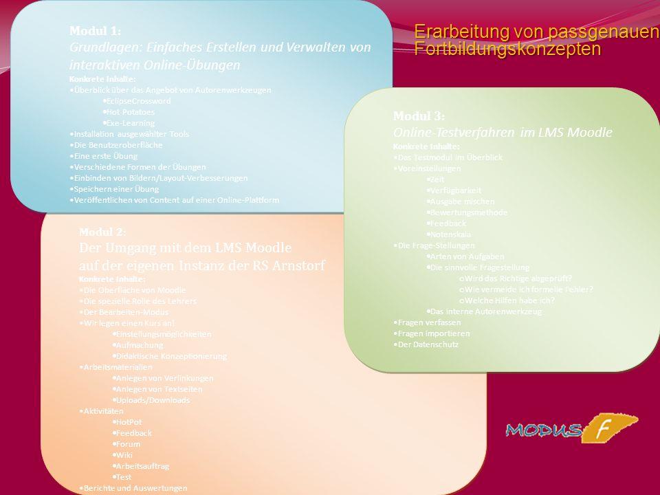 Modul 1: Grundlagen: Einfaches Erstellen und Verwalten von interaktiven Online-Übungen Konkrete Inhalte: Überblick über das Angebot von Autorenwerkzeu