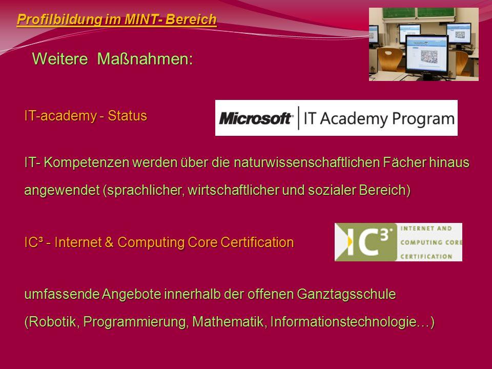 Weitere Maßnahmen: Profilbildung im MINT- Bereich IT-academy - Status IT- Kompetenzen werden über die naturwissenschaftlichen Fächer hinaus angewendet