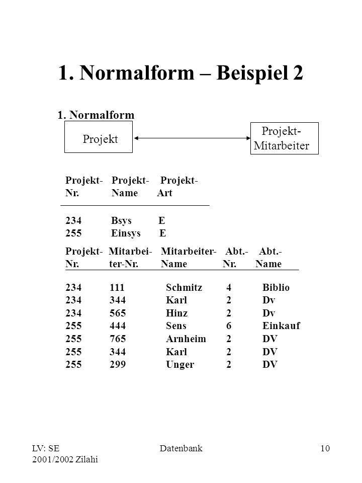 LV: SE 2001/2002 Zilahi Datenbank10 1.Normalform – Beispiel 2 1.