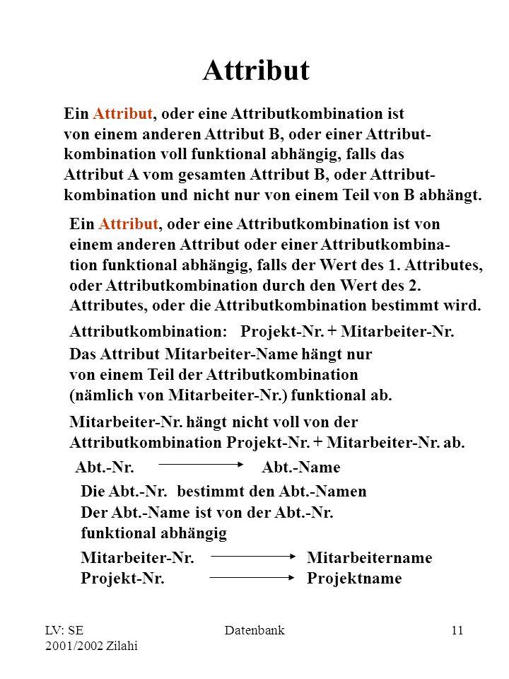 LV: SE 2001/2002 Zilahi Datenbank11 Attribut Ein Attribut, oder eine Attributkombination ist von einem anderen Attribut oder einer Attributkombina- tion funktional abhängig, falls der Wert des 1.