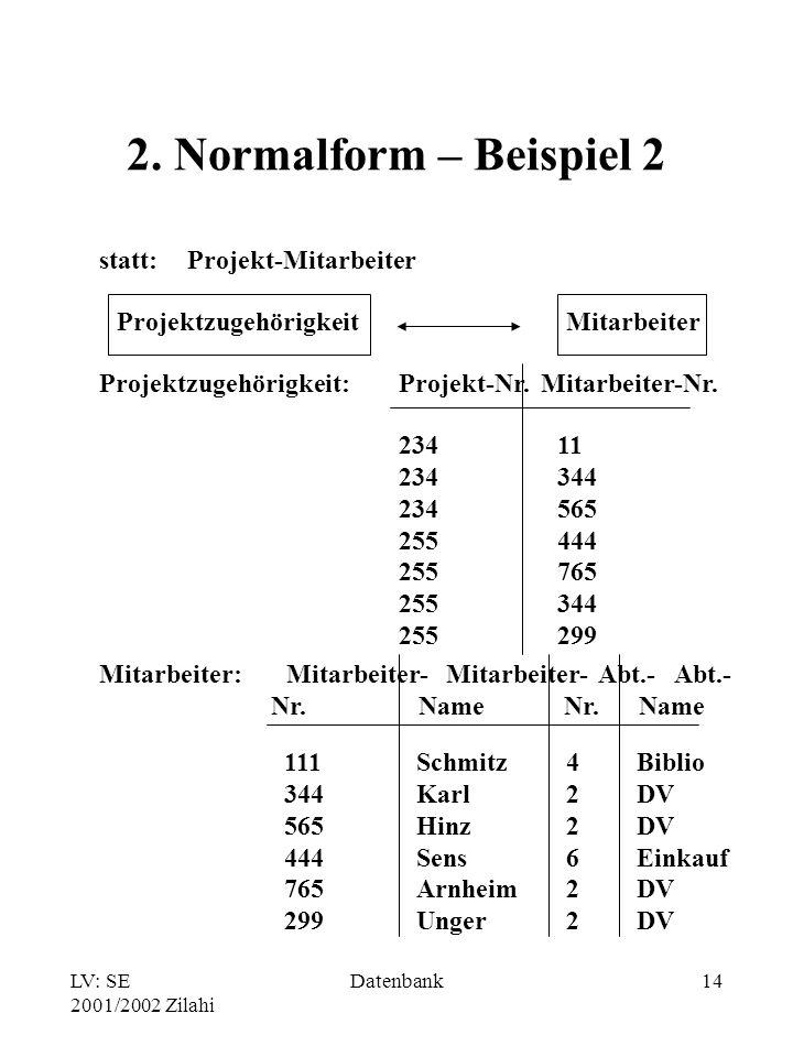 LV: SE 2001/2002 Zilahi Datenbank14 2.