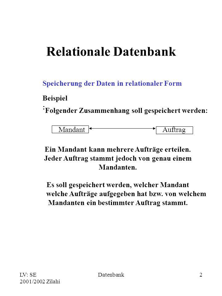 LV: SE 2001/2002 Zilahi Datenbank2 Relationale Datenbank Speicherung der Daten in relationaler Form Beispiel : Folgender Zusammenhang soll gespeichert werden: MandantAuftrag Ein Mandant kann mehrere Aufträge erteilen.