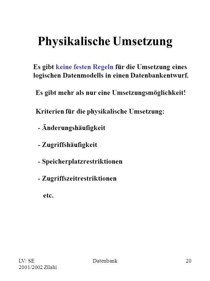 LV: SE 2001/2002 Zilahi Datenbank20 Physikalische Umsetzung Es gibt keine festen Regeln für die Umsetzung eines logischen Datenmodells in einen Datenbankentwurf.