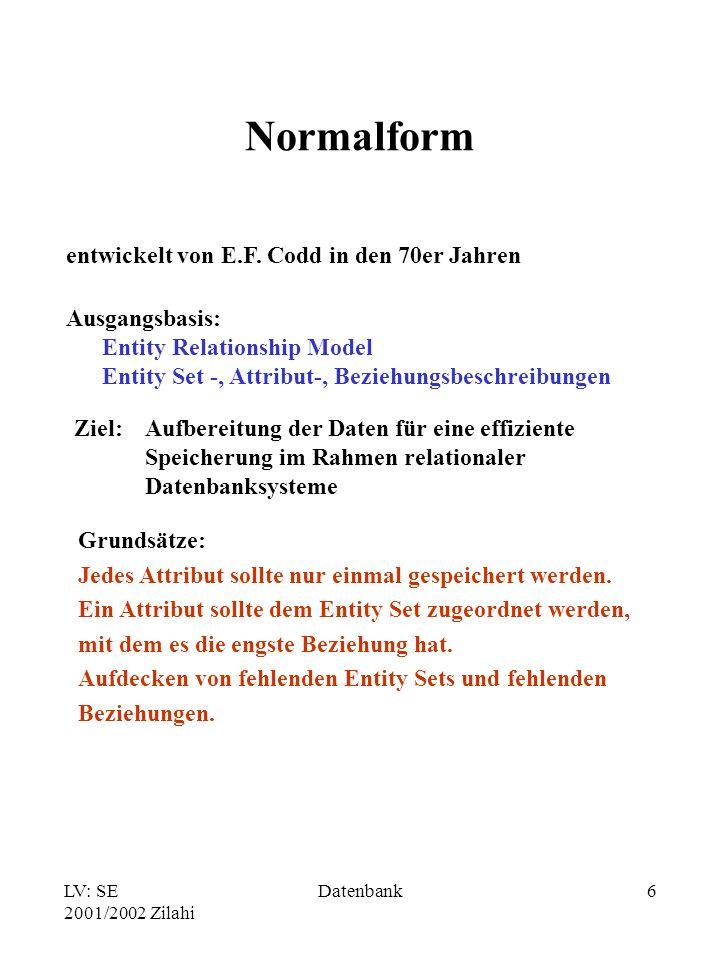 LV: SE 2001/2002 Zilahi Datenbank6 Normalform entwickelt von E.F.