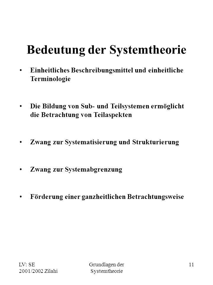 LV: SE 2001/2002 Zilahi Grundlagen der Systemtheorie 11 Bedeutung der Systemtheorie Einheitliches Beschreibungsmittel und einheitliche Terminologie Di