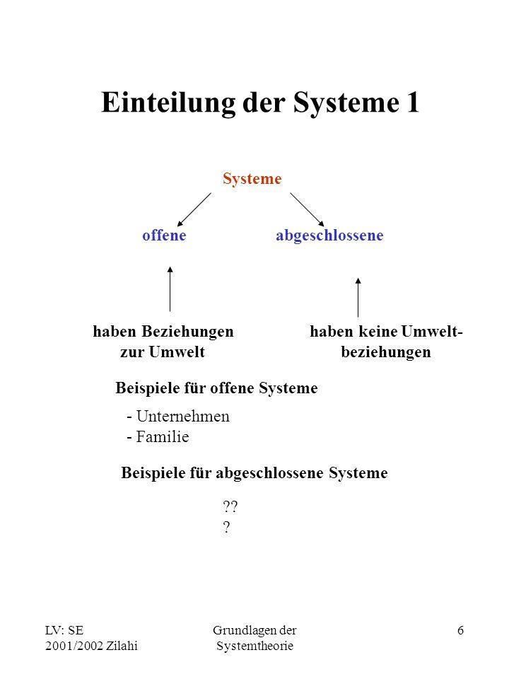 LV: SE 2001/2002 Zilahi Grundlagen der Systemtheorie 7 Einteilung der Systeme 2 Systeme statische Systeme dynamische Systeme haben keine Veränderungen im Zeitablauf Veränderungen im Zeitablauf Beispiele für dynamische Systeme - Familie - öffentliche Verwaltung - Softwaresysteme Beispiele für statische Systeme ???