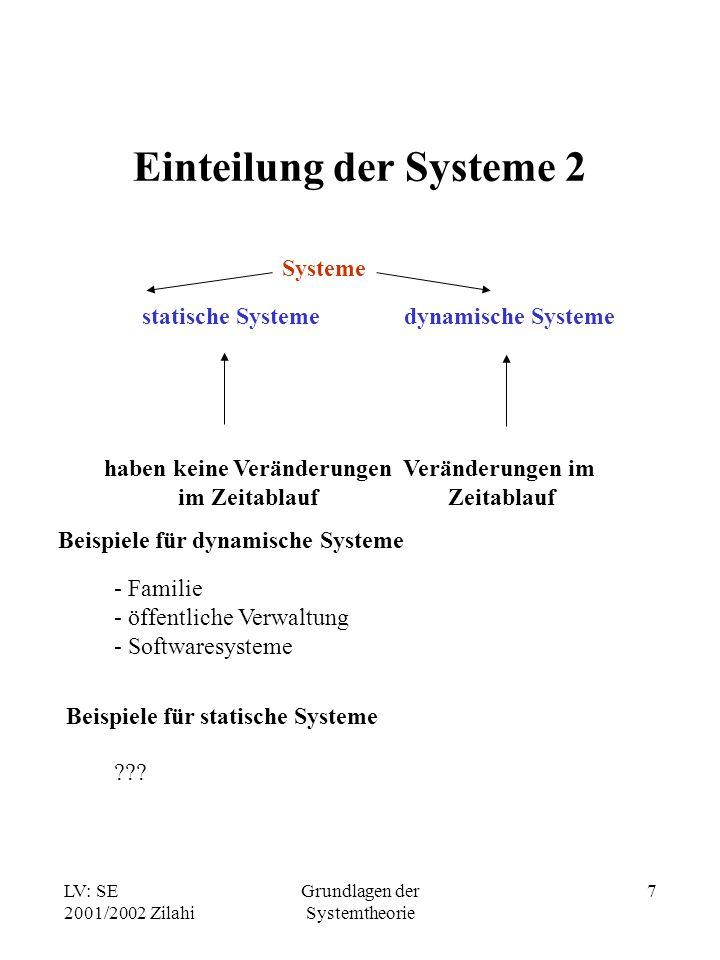 LV: SE 2001/2002 Zilahi Grundlagen der Systemtheorie 8 Subsystem (Untersystem) Ein Subsystem ist die Zusammenfassung von Elementen eines Systems zu einem neuen System Subsystem 1 Subsystem 2 Subsystem 3 Subsystem 4 System Beispiele für Subsysteme - Abteilungen eines Unternehmens - Staaten der EU