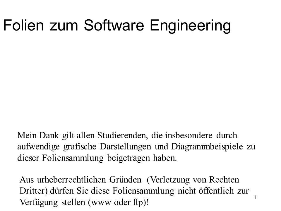 Folien zum Software Engineering Aus urheberrechtlichen Gründen (Verletzung von Rechten Dritter) dürfen Sie diese Foliensammlung nicht öffentlich zur V