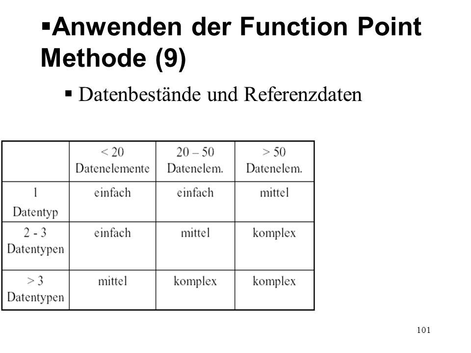 Anwenden der Function Point Methode (9) Datenbestände und Referenzdaten 101