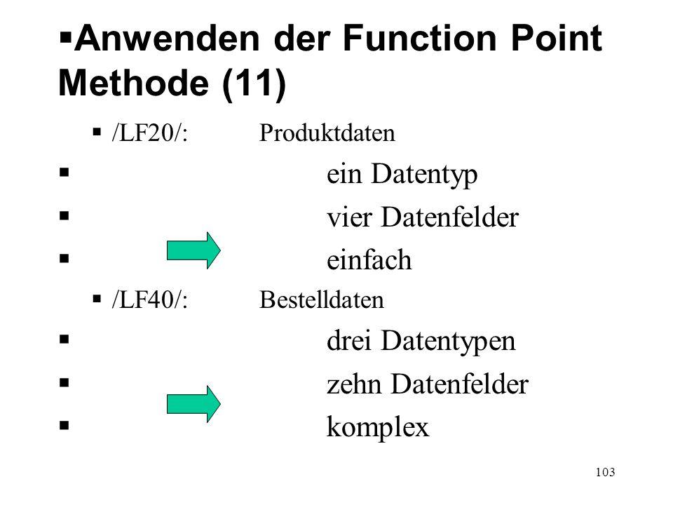 Anwenden der Function Point Methode (11) /LF20/: Produktdaten ein Datentyp vier Datenfelder einfach /LF40/: Bestelldaten drei Datentypen zehn Datenfel