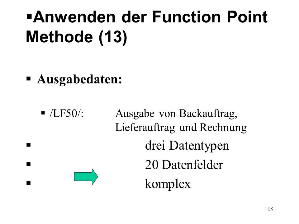 Anwenden der Function Point Methode (13) Ausgabedaten: /LF50/: Ausgabe von Backauftrag, Lieferauftrag und Rechnung drei Datentypen 20 Datenfelder komp