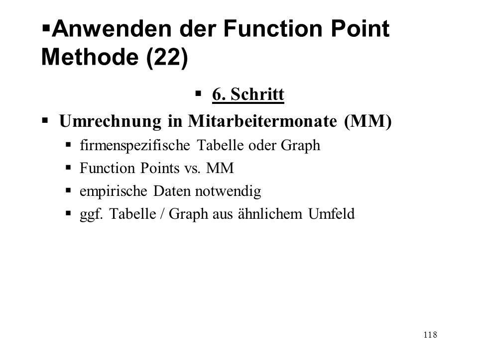 Anwenden der Function Point Methode (22) 6. Schritt Umrechnung in Mitarbeitermonate (MM) firmenspezifische Tabelle oder Graph Function Points vs. MM e