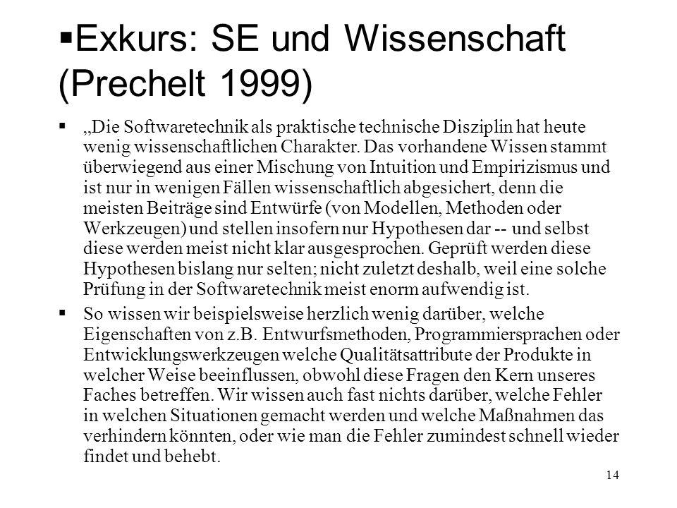 Exkurs: SE und Wissenschaft (Prechelt 1999) Die Softwaretechnik als praktische technische Disziplin hat heute wenig wissenschaftlichen Charakter. Das