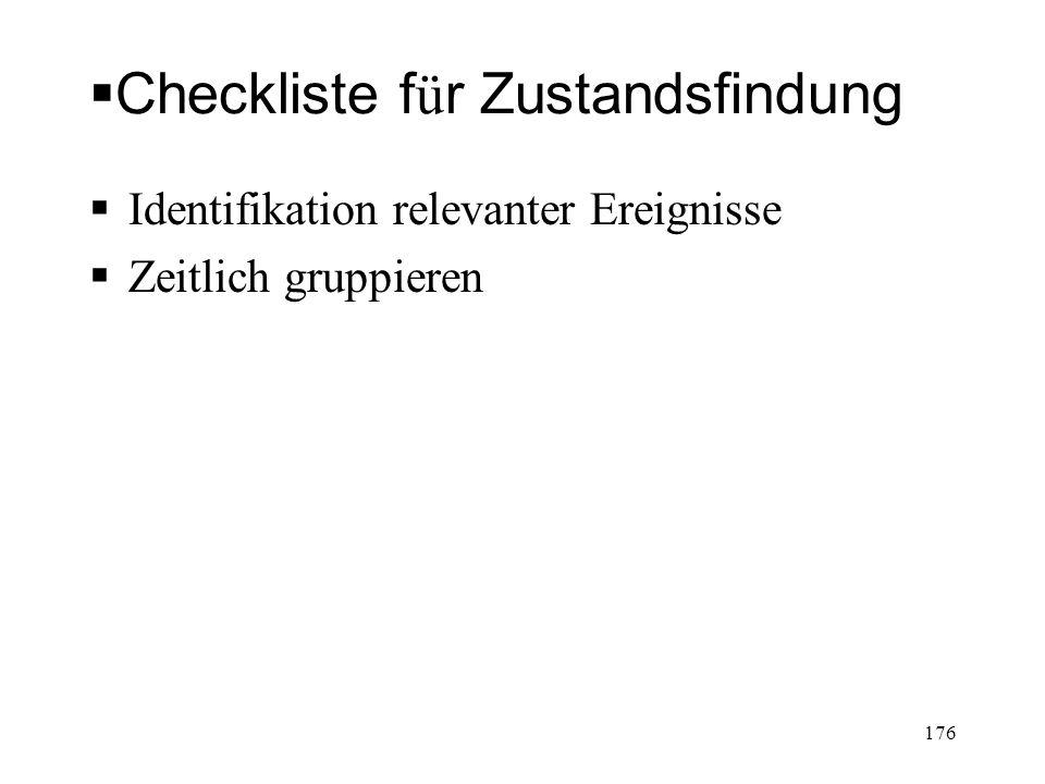 Checkliste f ü r Zustandsfindung Identifikation relevanter Ereignisse Zeitlich gruppieren 176