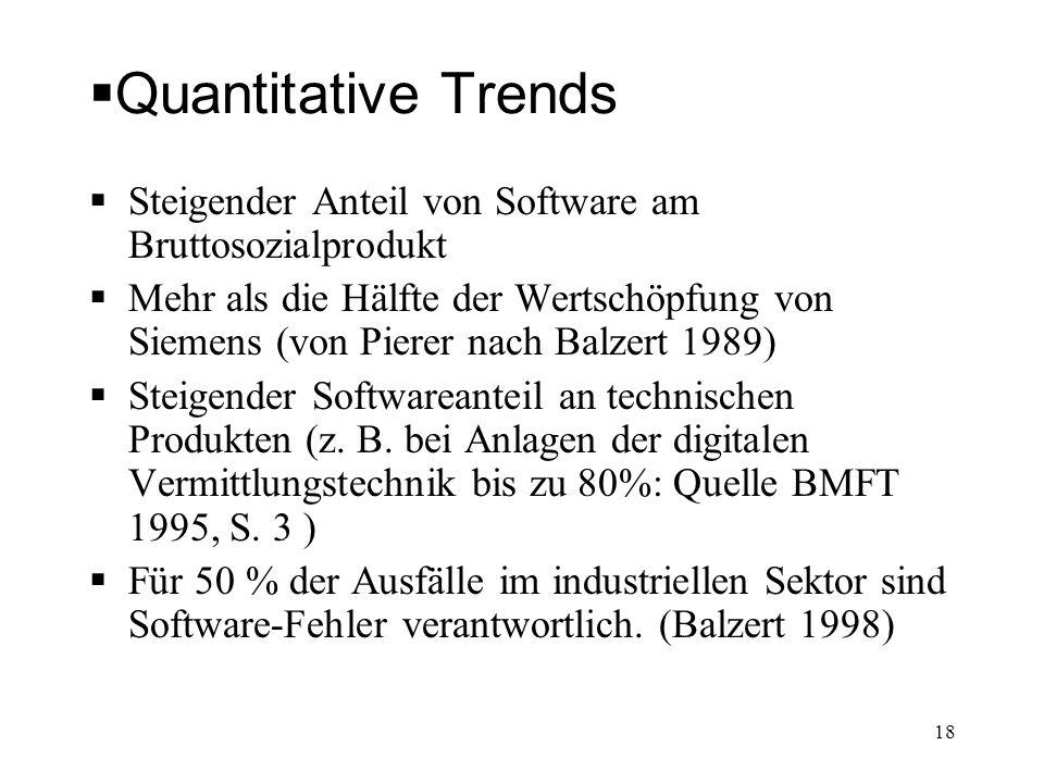 Quantitative Trends Steigender Anteil von Software am Bruttosozialprodukt Mehr als die Hälfte der Wertschöpfung von Siemens (von Pierer nach Balzert 1