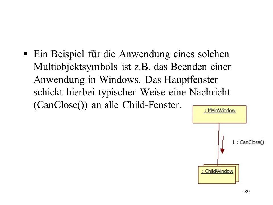 Ein Beispiel für die Anwendung eines solchen Multiobjektsymbols ist z.B. das Beenden einer Anwendung in Windows. Das Hauptfenster schickt hierbei typi