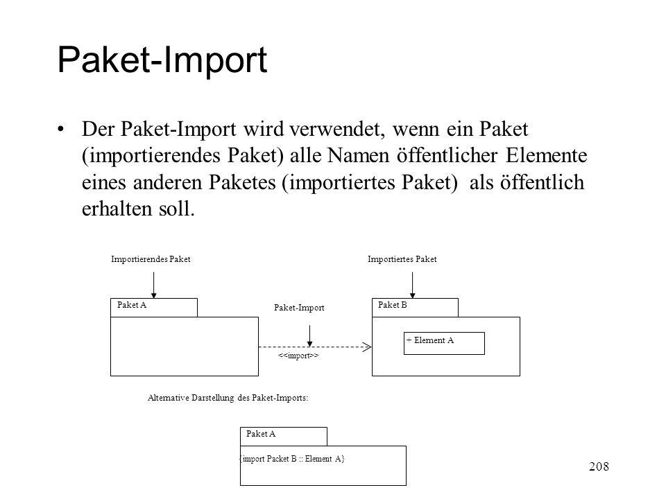 Paket-Import Der Paket-Import wird verwendet, wenn ein Paket (importierendes Paket) alle Namen öffentlicher Elemente eines anderen Paketes (importiert
