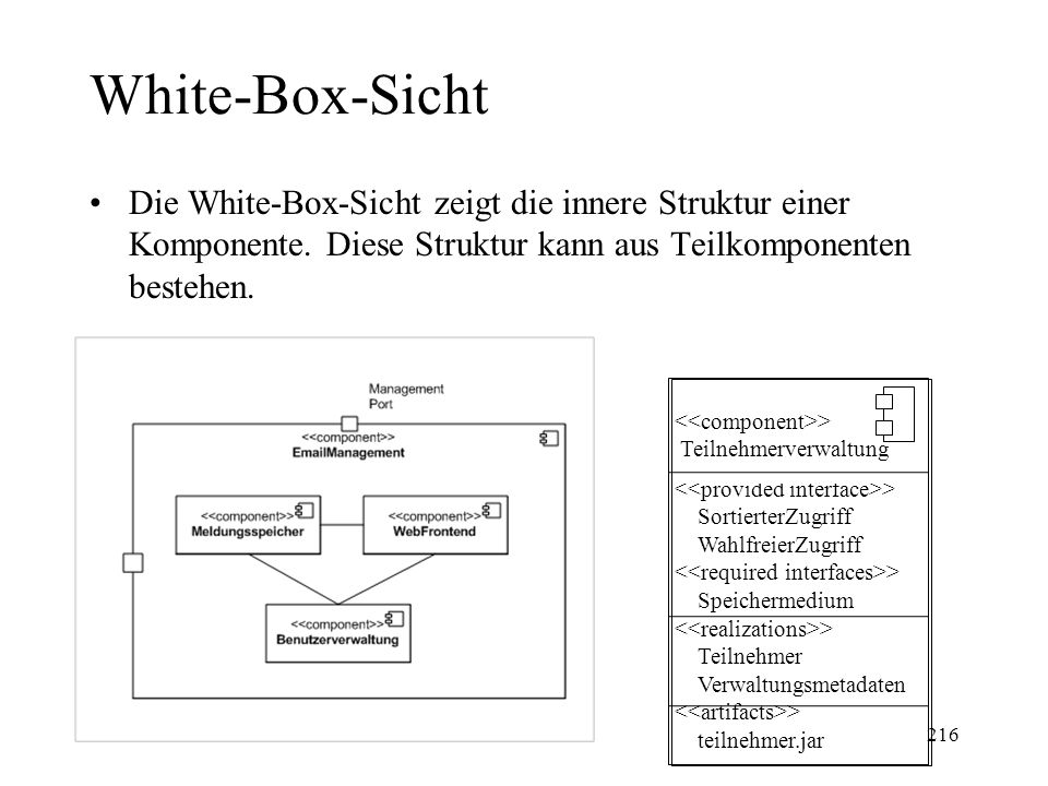 Komponentensymbole in Rational Rose Ausführbare: Library: Table: File: Dokument: 217