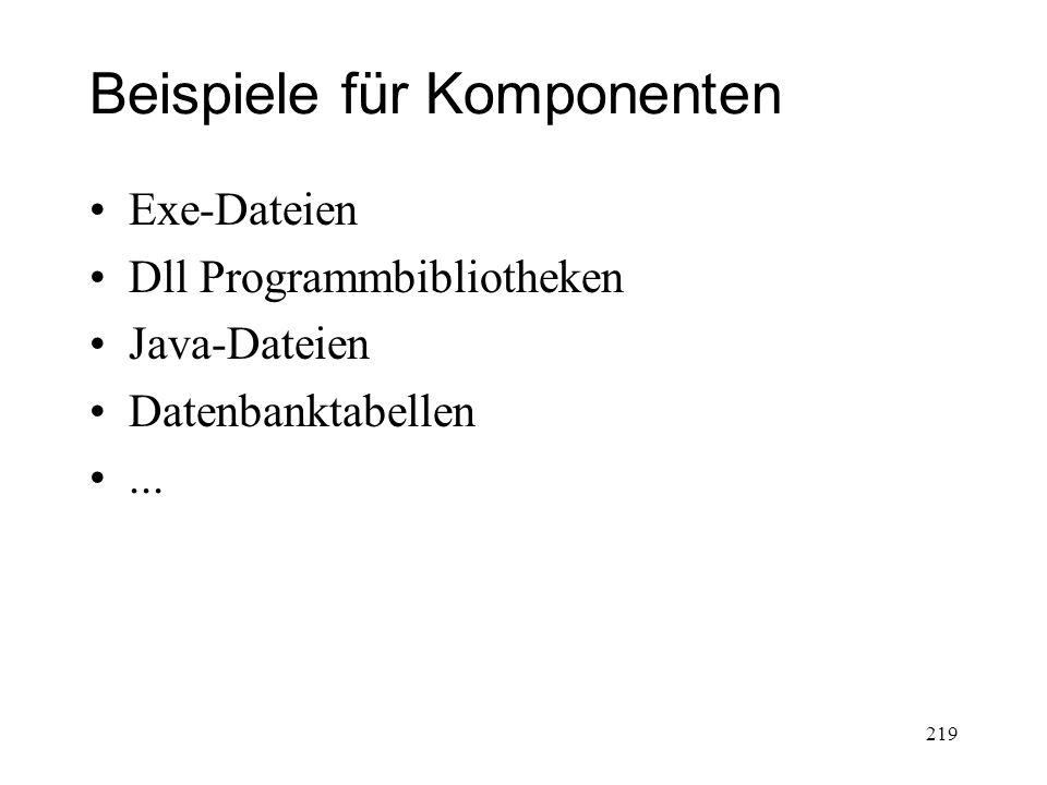 Beispiele für Komponenten Exe-Dateien Dll Programmbibliotheken Java-Dateien Datenbanktabellen... 219