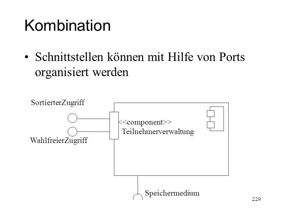 Kombination Schnittstellen können mit Hilfe von Ports organisiert werden WahlfreierZugriff Speichermedium SortierterZugriff > Teilnehmerverwaltung 229