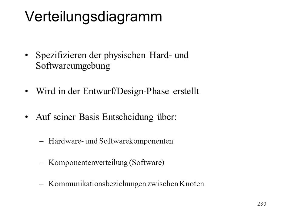 Verteilungsdiagramm Spezifizieren der physischen Hard- und SoftwareumgebungSpezifizieren der physischen Hard- und Softwareumgebung Wird in der Entwurf