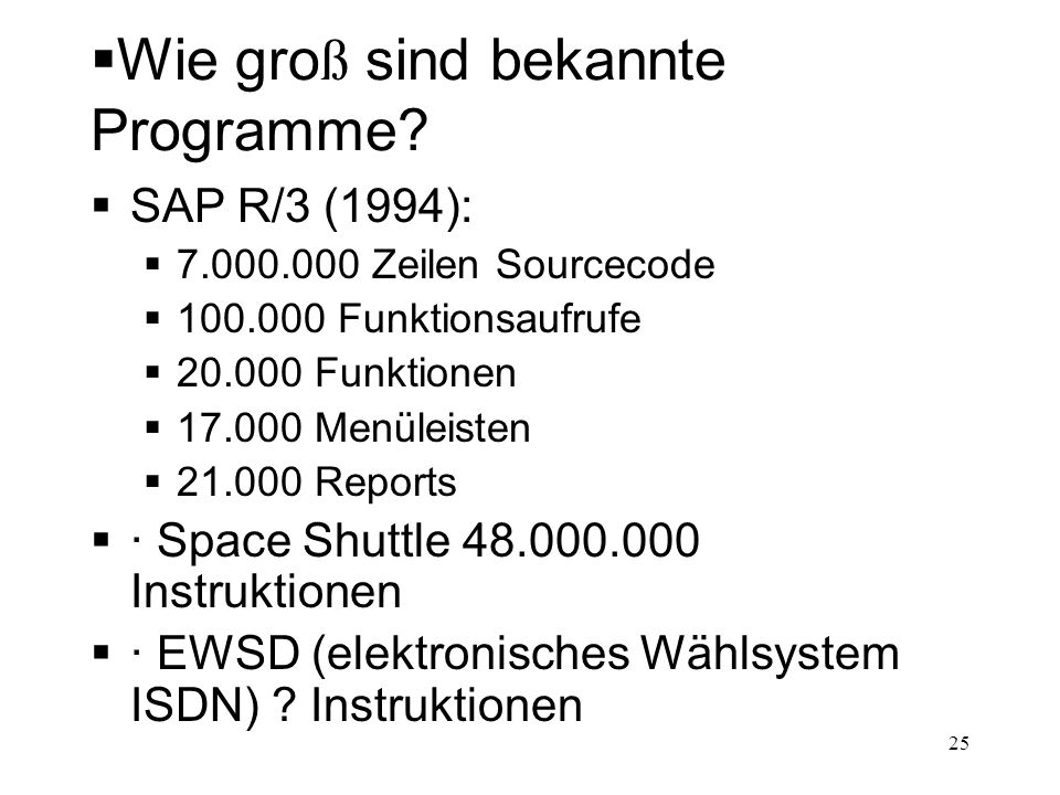 Was wei ß der Softwareingenieur.
