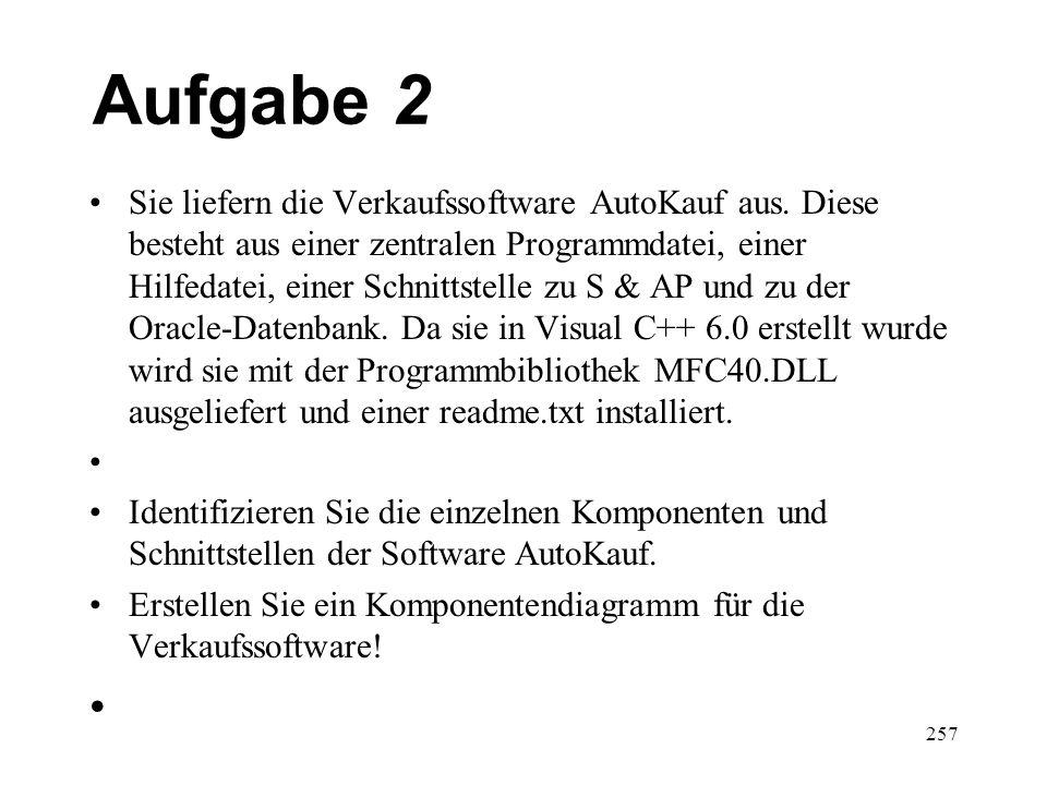 Aufgabe 2 Sie liefern die Verkaufssoftware AutoKauf aus. Diese besteht aus einer zentralen Programmdatei, einer Hilfedatei, einer Schnittstelle zu S &