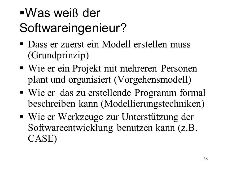 Was wei ß der Softwareingenieur? Dass er zuerst ein Modell erstellen muss (Grundprinzip) Wie er ein Projekt mit mehreren Personen plant und organisier