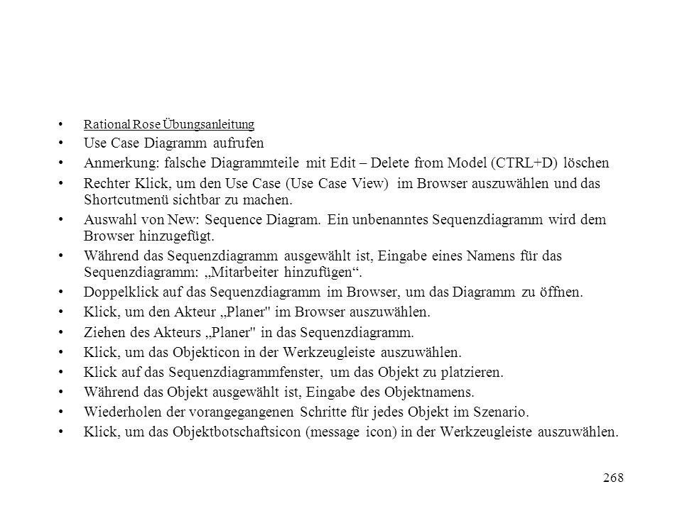 Rational Rose Übungsanleitung Use Case Diagramm aufrufen Anmerkung: falsche Diagrammteile mit Edit – Delete from Model (CTRL+D) löschen Rechter Klick,