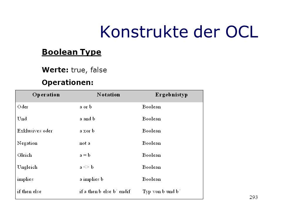 Konstrukte der OCL Boolean Type Werte: true, false Operationen: 293