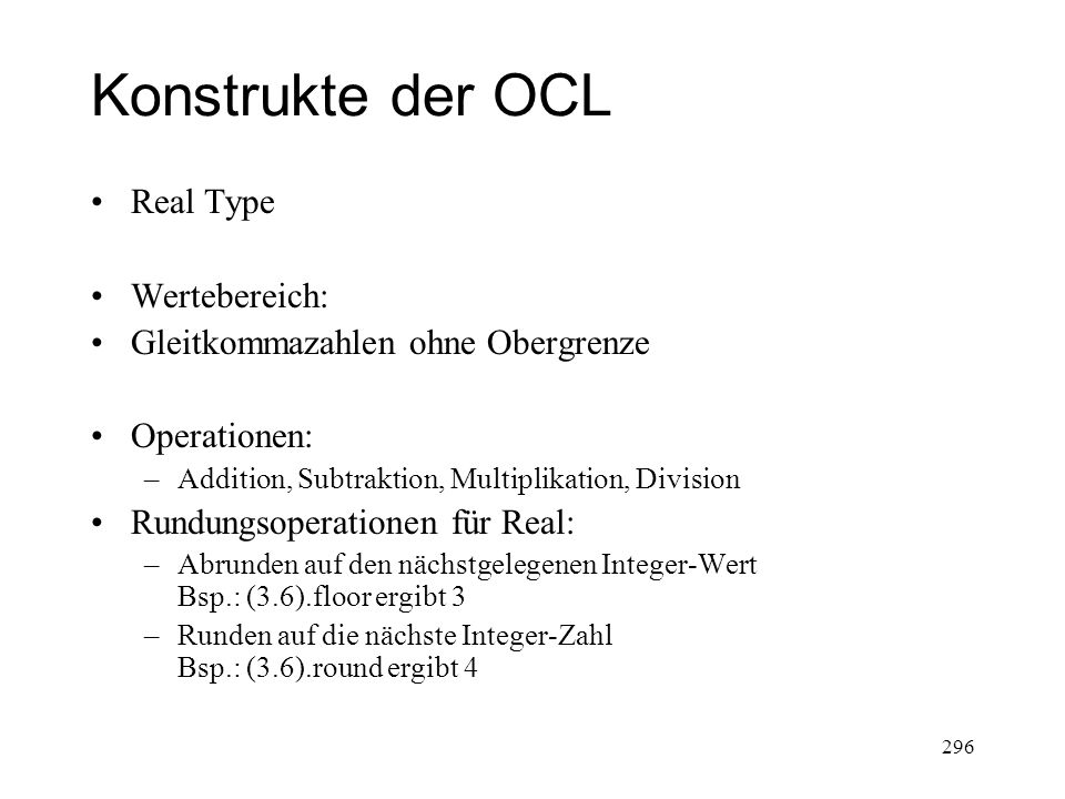 Operationen f ü r integer und real 297