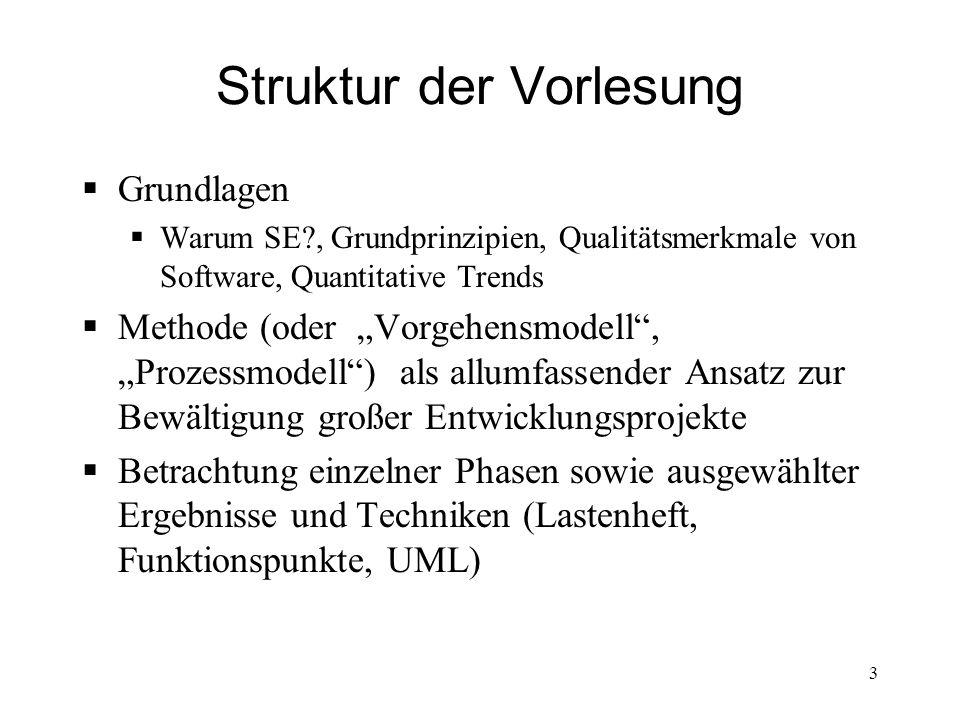 Struktur der Vorlesung Grundlagen Warum SE?, Grundprinzipien, Qualitätsmerkmale von Software, Quantitative Trends Methode (oder Vorgehensmodell, Proze