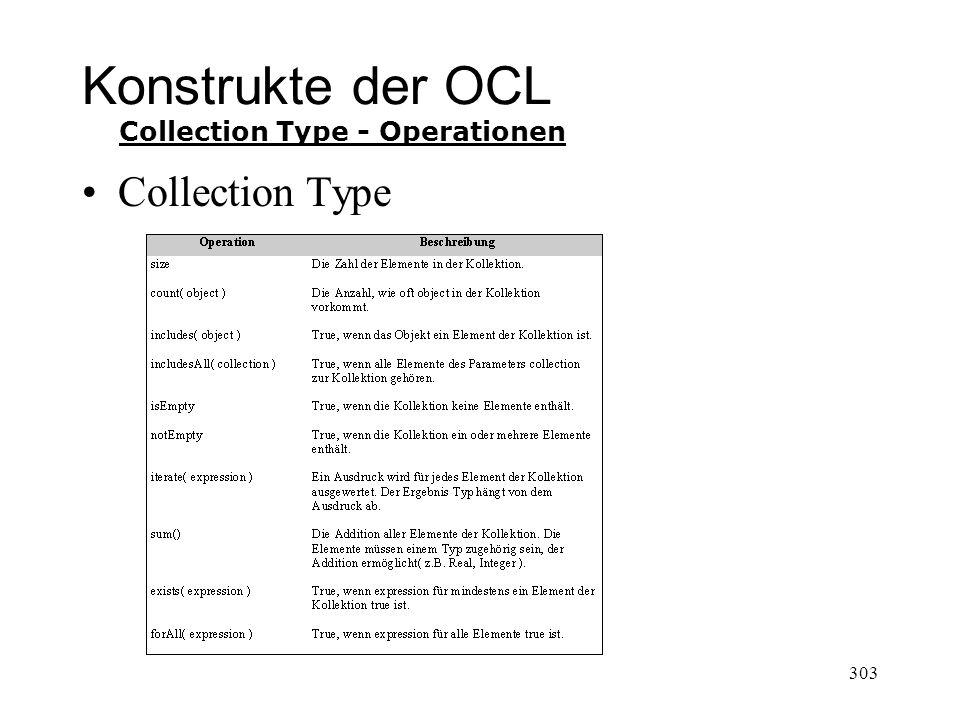 Konstrukte der OCL Collection Type Collection Type - Operationen 303