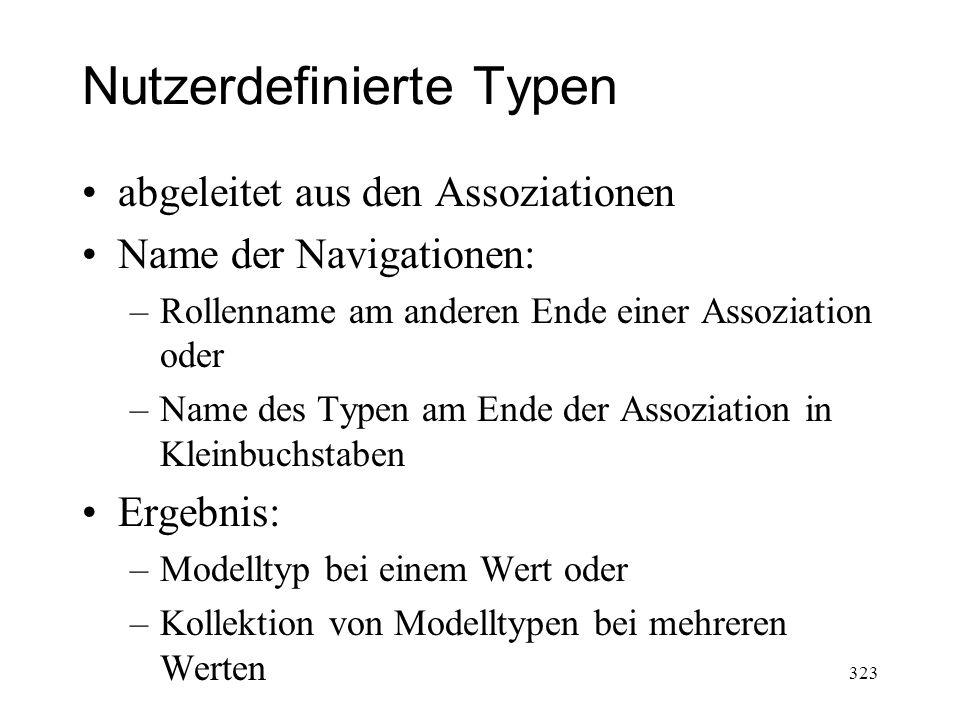 Nutzerdefinierte Typen abgeleitet aus den Assoziationen Name der Navigationen: –Rollenname am anderen Ende einer Assoziation oder –Name des Typen am E