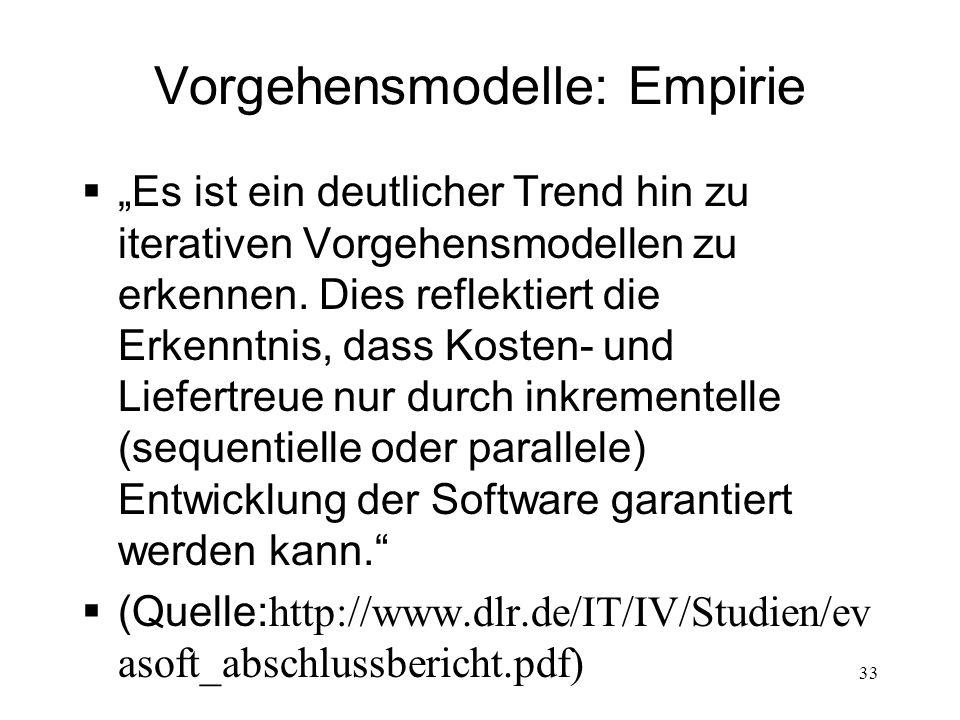 Vorgehensmodelle: Empirie Es ist ein deutlicher Trend hin zu iterativen Vorgehensmodellen zu erkennen. Dies reflektiert die Erkenntnis, dass Kosten- u