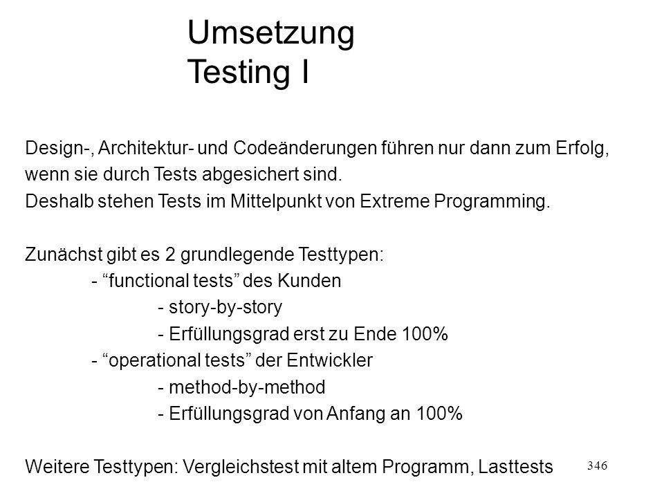 Umsetzung Testing I Design-, Architektur- und Codeänderungen führen nur dann zum Erfolg, wenn sie durch Tests abgesichert sind. Deshalb stehen Tests i