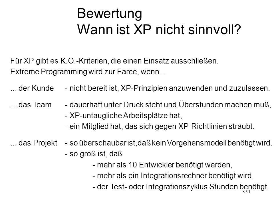 Bewertung Wann ist XP nicht sinnvoll? Für XP gibt es K.O.-Kriterien, die einen Einsatz ausschließen. Extreme Programming wird zur Farce, wenn...... de