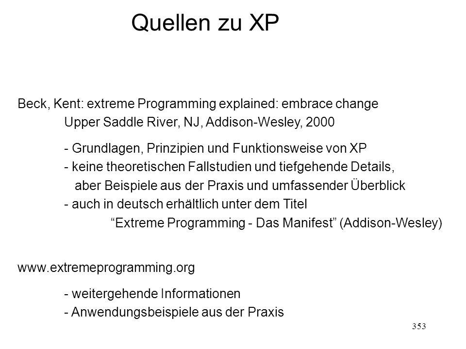 Quellen zu XP Beck, Kent: extreme Programming explained: embrace change Upper Saddle River, NJ, Addison-Wesley, 2000 - Grundlagen, Prinzipien und Funk