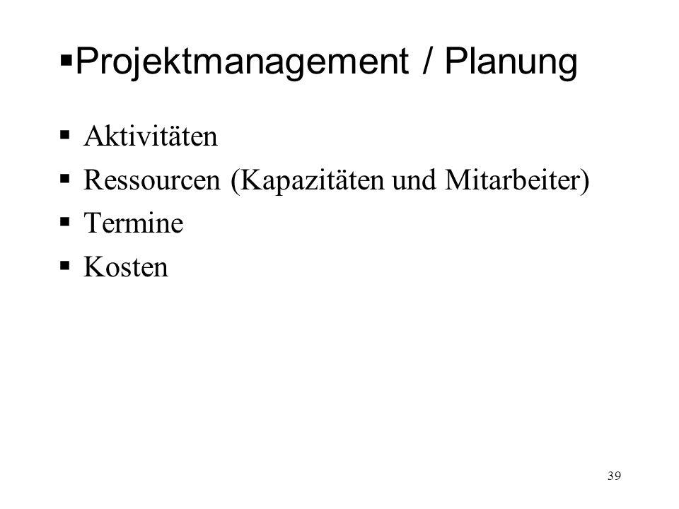 Projektmanagement / Planung Aktivitäten Ressourcen (Kapazitäten und Mitarbeiter) Termine Kosten 39