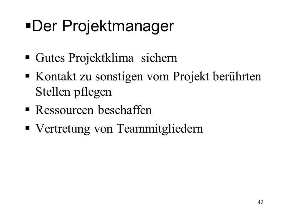 Der Projektmanager Gutes Projektklima sichern Kontakt zu sonstigen vom Projekt berührten Stellen pflegen Ressourcen beschaffen Vertretung von Teammitg