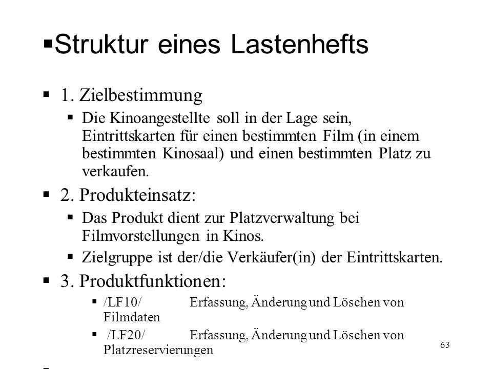 Struktur eines Lastenhefts 1. Zielbestimmung Die Kinoangestellte soll in der Lage sein, Eintrittskarten für einen bestimmten Film (in einem bestimmten