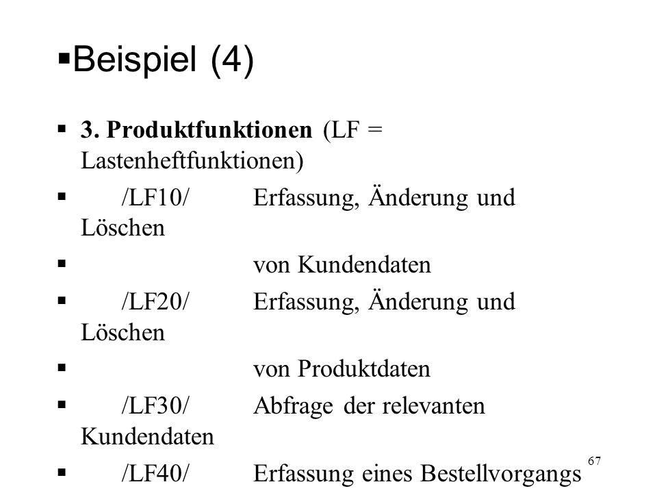 Beispiel (4) 3. Produktfunktionen (LF = Lastenheftfunktionen) /LF10/ Erfassung, Änderung und Löschen von Kundendaten /LF20/ Erfassung, Änderung und Lö