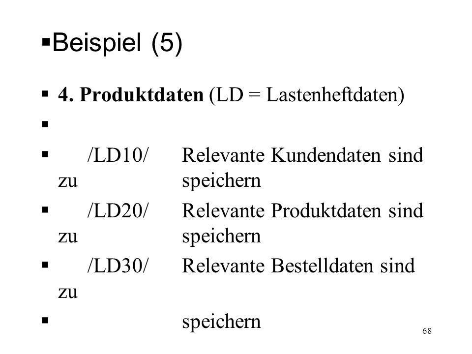Beispiel (5) 4. Produktdaten (LD = Lastenheftdaten) /LD10/ Relevante Kundendaten sind zu speichern /LD20/ Relevante Produktdaten sind zu speichern /LD