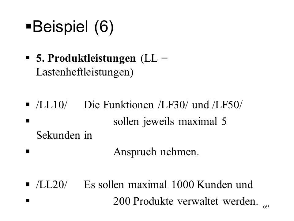 Beispiel (6) 5. Produktleistungen (LL = Lastenheftleistungen) /LL10/Die Funktionen /LF30/ und /LF50/ sollen jeweils maximal 5 Sekunden in Anspruch neh