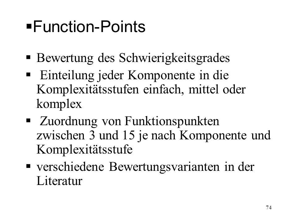 Function-Points Bewertung des Schwierigkeitsgrades Einteilung jeder Komponente in die Komplexitätsstufen einfach, mittel oder komplex Zuordnung von Fu