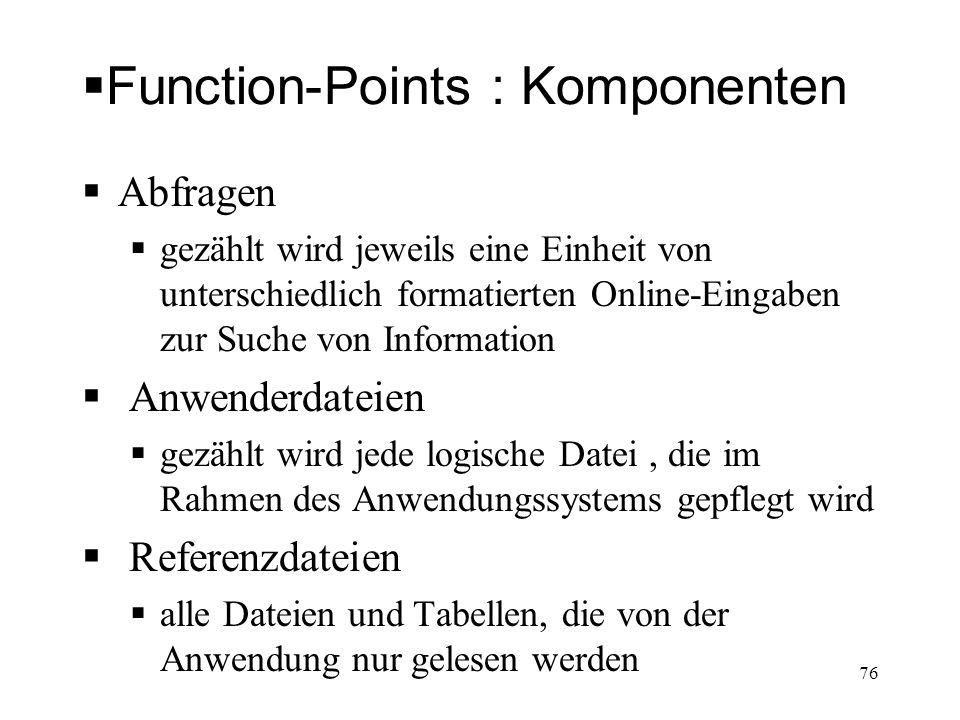 Function-Points : Komponenten Abfragen gezählt wird jeweils eine Einheit von unterschiedlich formatierten Online-Eingaben zur Suche von Information An