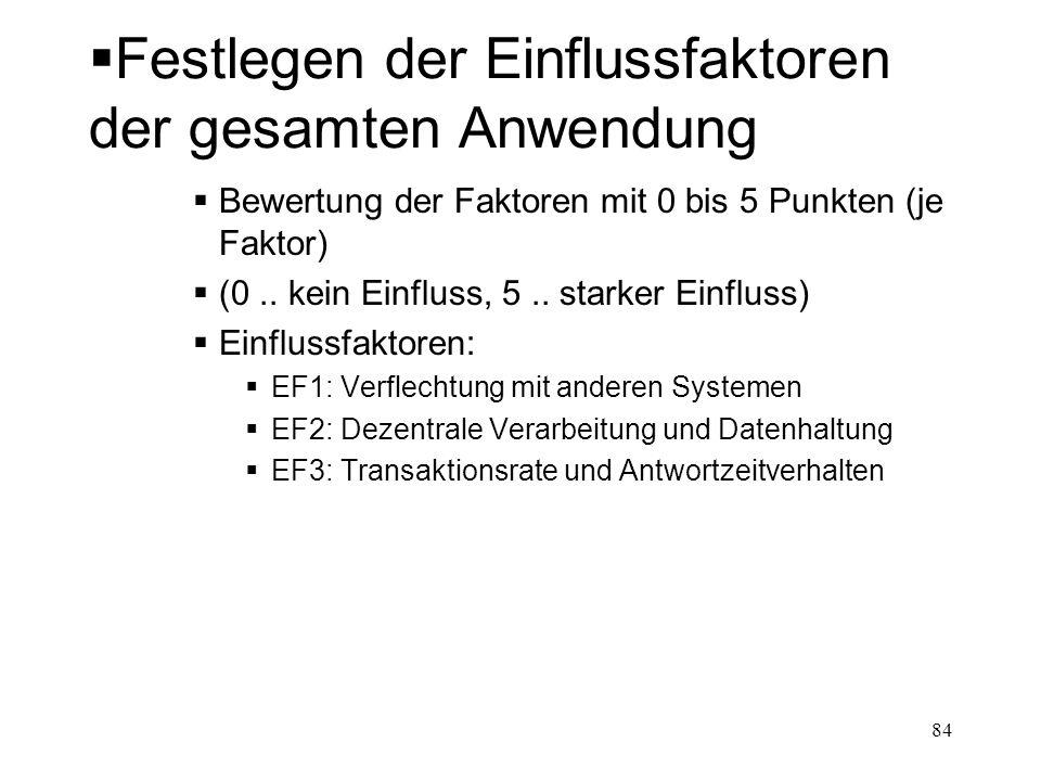 Festlegen der Einflussfaktoren der gesamten Anwendung Bewertung der Faktoren mit 0 bis 5 Punkten (je Faktor) (0.. kein Einfluss, 5.. starker Einfluss)