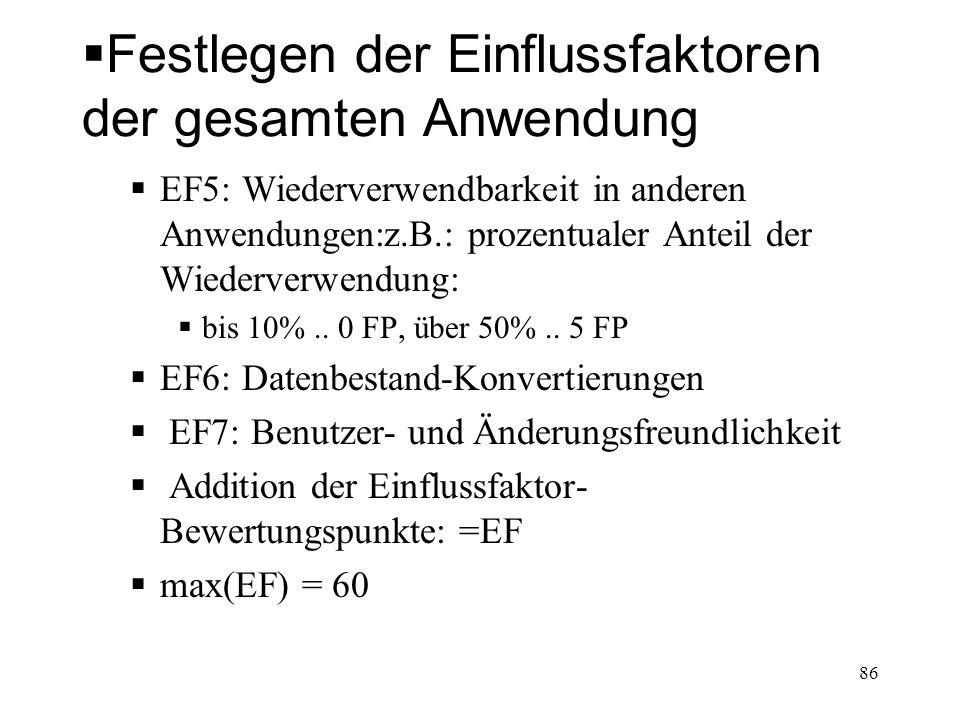 Festlegen der Einflussfaktoren der gesamten Anwendung EF5: Wiederverwendbarkeit in anderen Anwendungen:z.B.: prozentualer Anteil der Wiederverwendung: