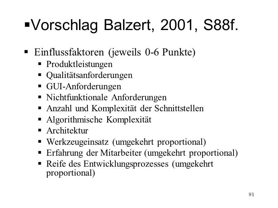 Vorschlag Balzert, 2001, S88f. Einflussfaktoren (jeweils 0-6 Punkte) Produktleistungen Qualitätsanforderungen GUI-Anforderungen Nichtfunktionale Anfor