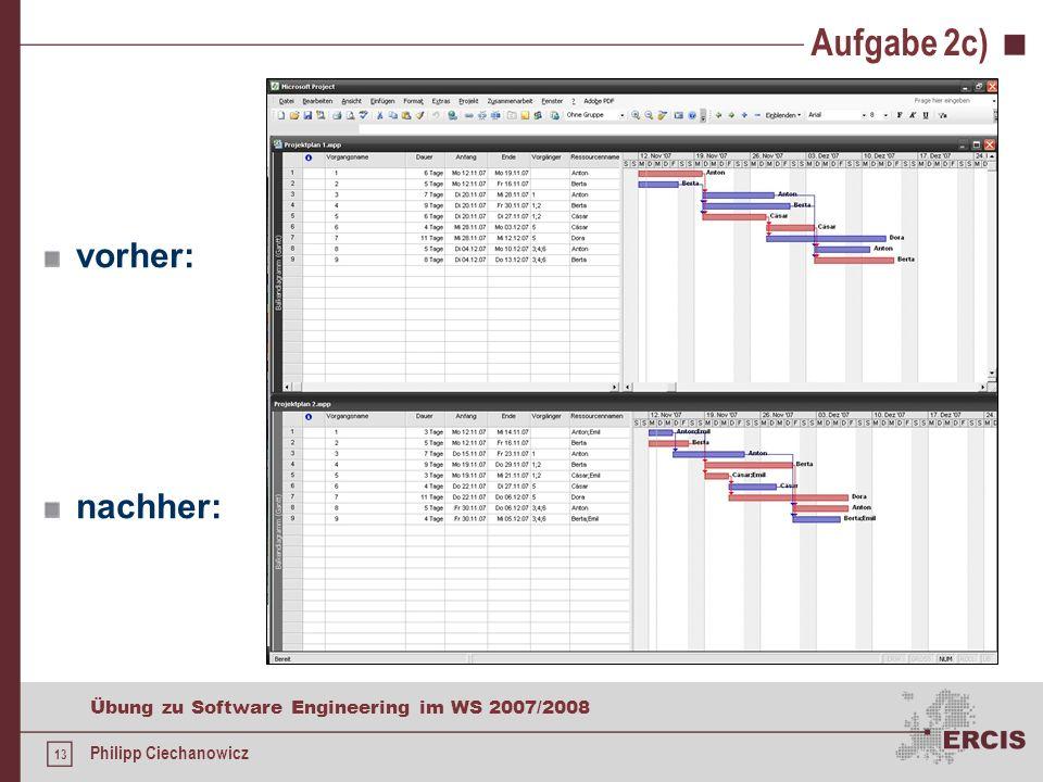 12 Übung zu Software Engineering im WS 2007/2008 Philipp Ciechanowicz Aufgabe 2c) Höchstes Minimierungspotenzial befindet sich auf dem kritischen Pfad